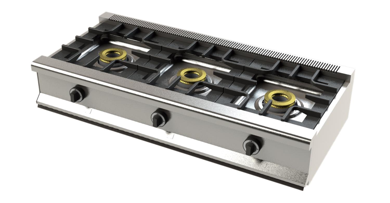 Gama 550 eco tedhinox for Cocina 3 fuegos sobremesa