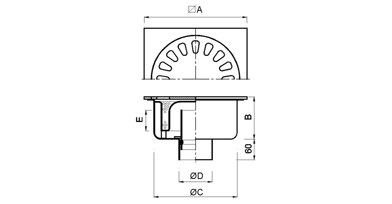 Sumidero 250x250mm con sifón extraíble [LEP025]